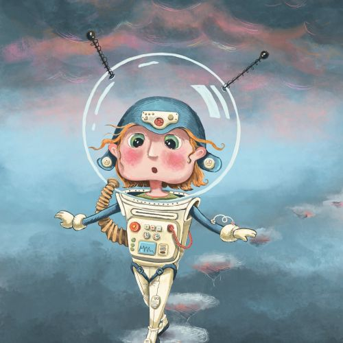 space, astronaut, sky, walk, clouds, girl, child, character