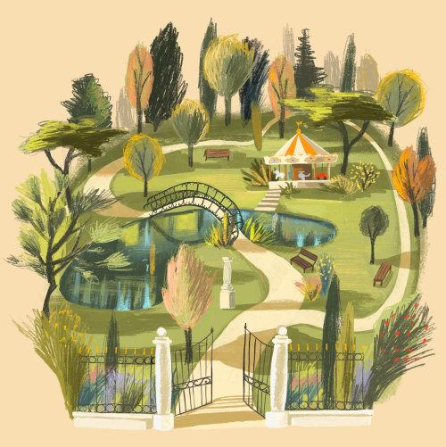 parque, lago, lápis, ponte, verão