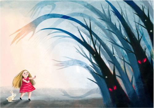 menina, criança, personagem, floresta, hostil, monstro, assustador