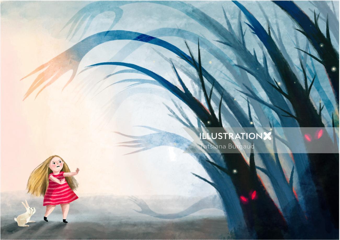 girl, child, character, forest, hostile, monster, scary