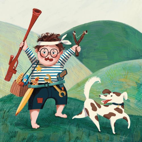 Fearless cartoon boy walking at countryside with Dog