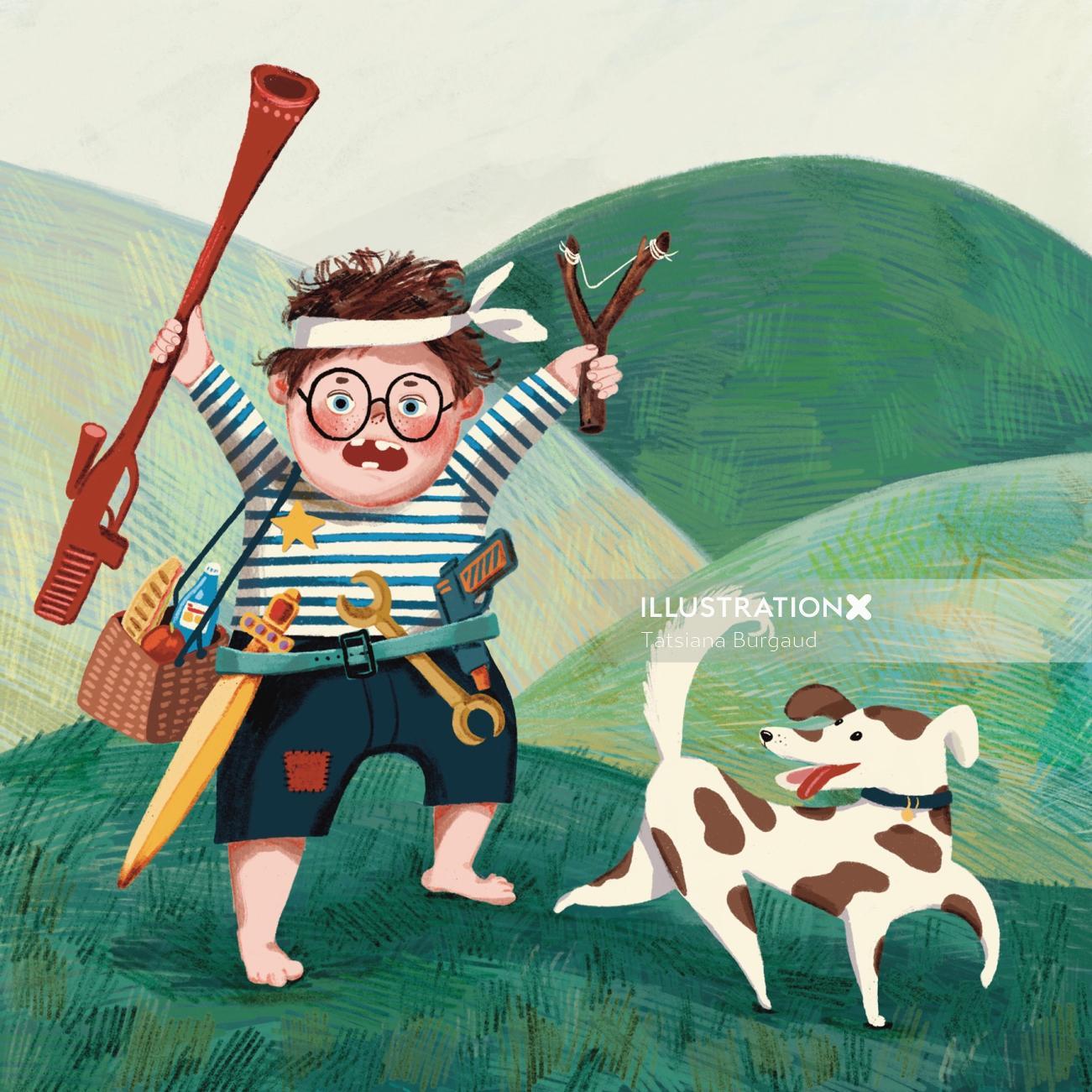 boy, gun, dog, adventure, pirate, snack, illustration