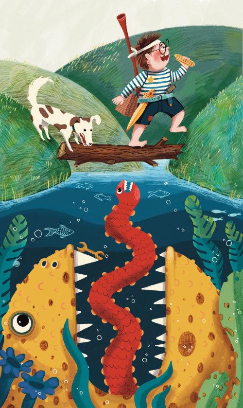 monstro, loch, lago, criança, aventura, cachorro, comer