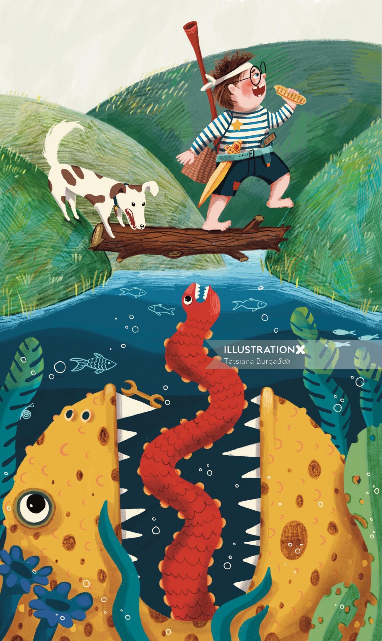 monster, lochness, lake, child, adventure, dog, eat