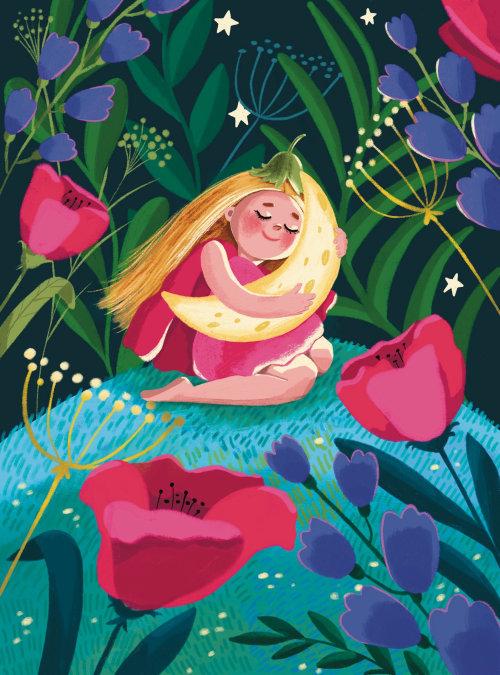 flor, menina, criança, noite, lua, sono