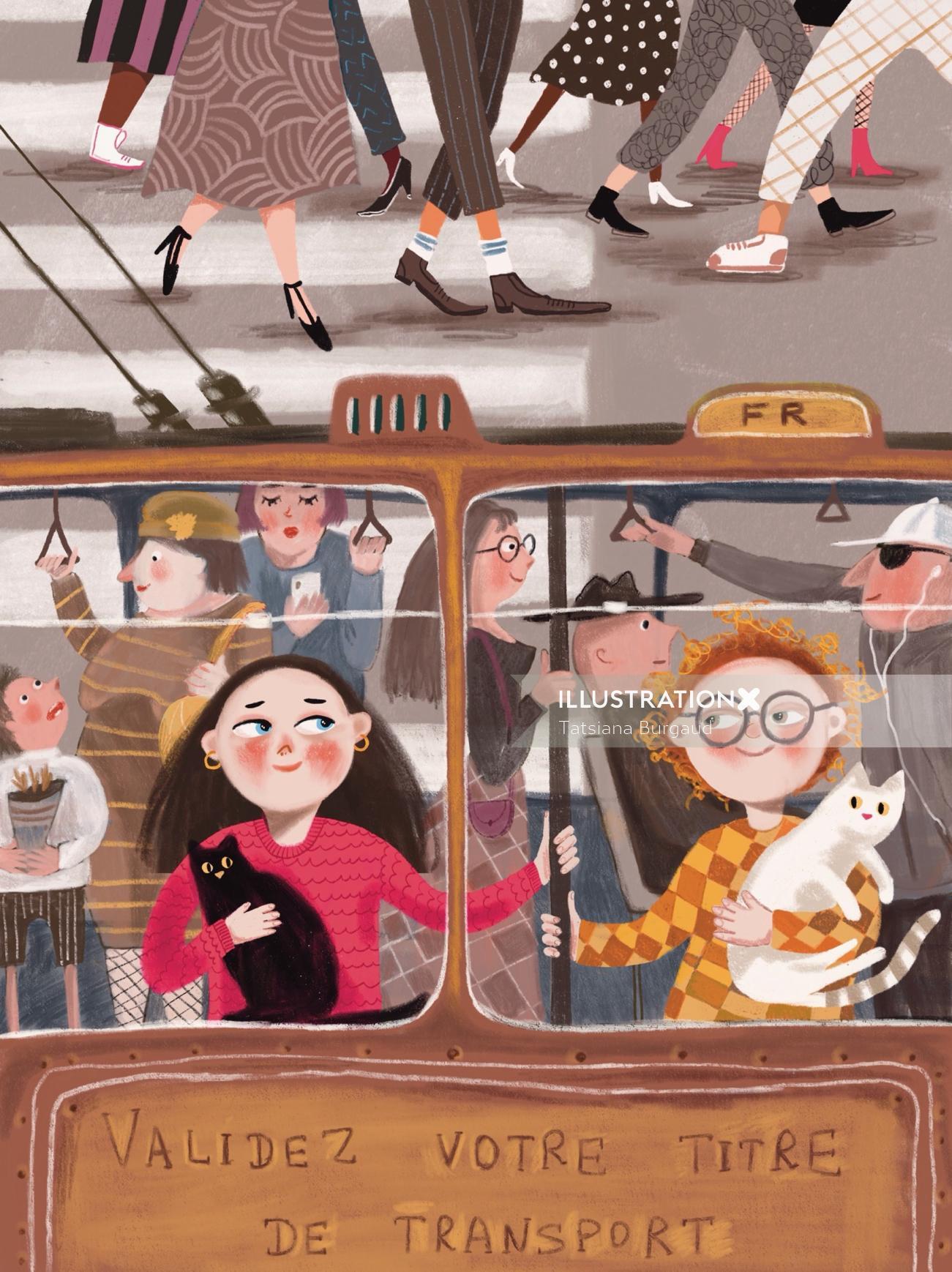 cat, trolley, city, crowd, journey