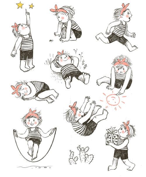 personaje, niña, niño, acción