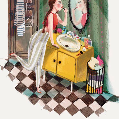 Retro woman applying lipstick in bathroom
