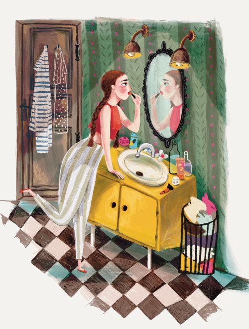 Mujer joven, con, un, lápiz labial