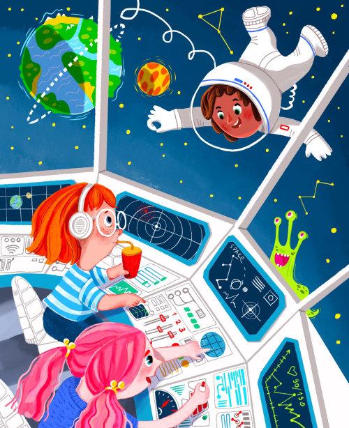astronauta, nave espacial, lanzadera, planeta, tierra, extraterrestre