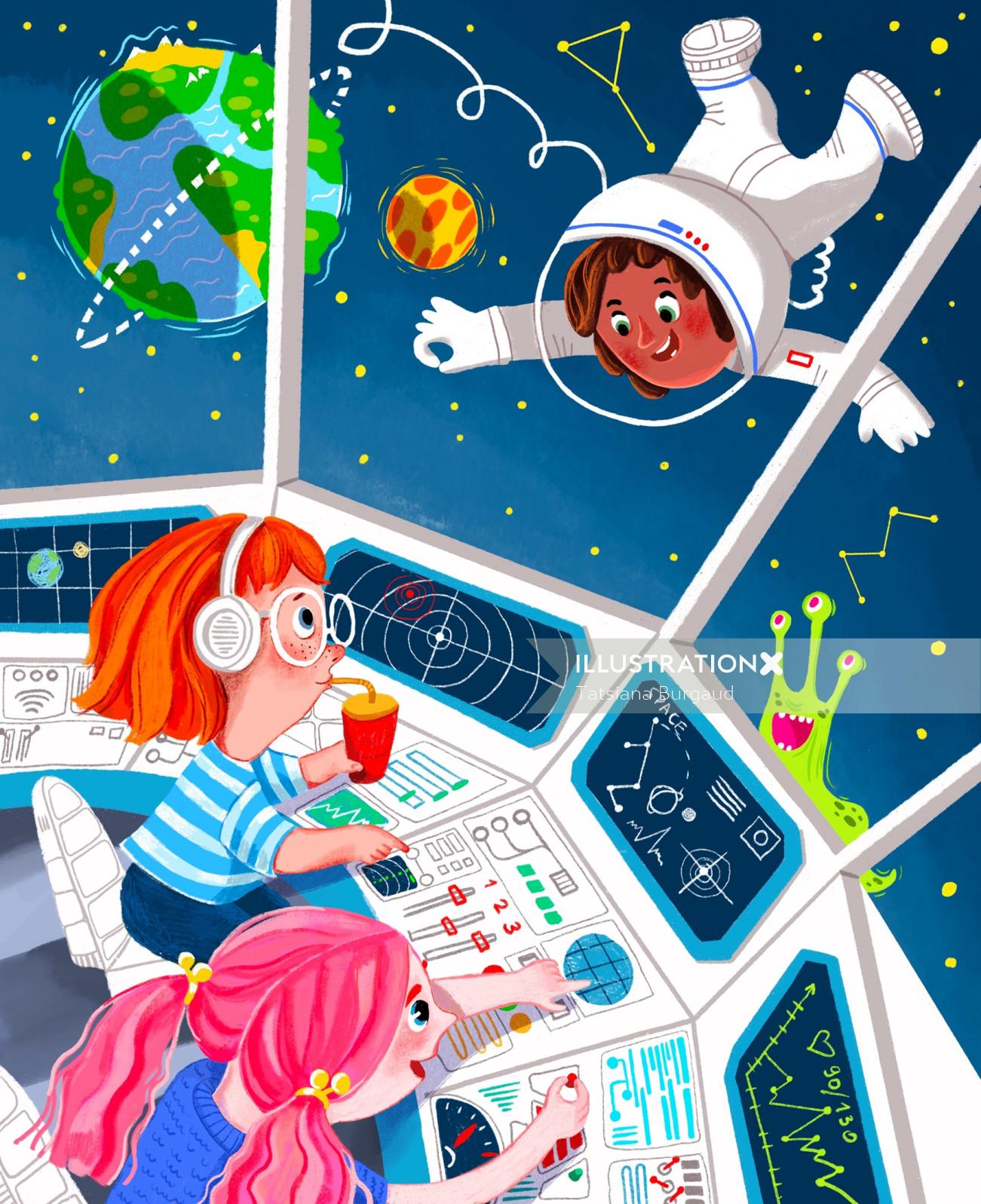 astronaute, space ship, shuttle, planet, earth, extraterrestrial