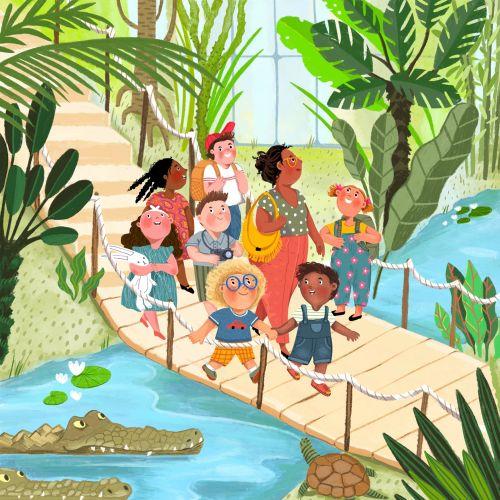 teacher, crocodiles, botanical, bridge, visit, educational, learn