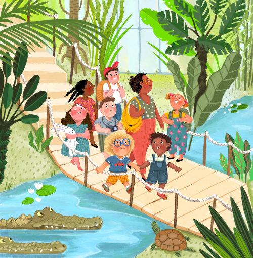 profesor, cocodrilos, botánico, puente, visita, educativo, aprender