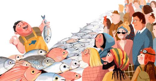 pescadería, tienda, mercado, multitud, gente, clientes