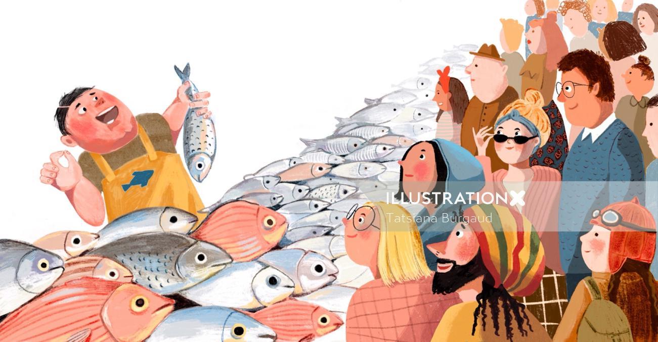 fishmonger, shop, market, crowd, people, customers