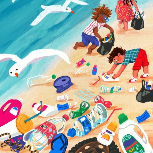 Children cleaning plastic waste in beach