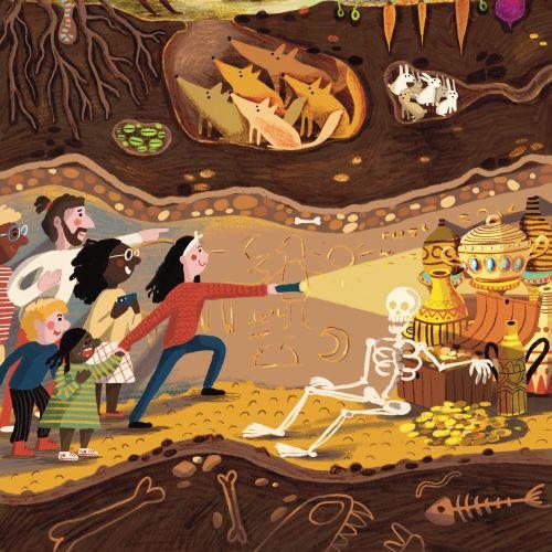 fox, rabbit, bunny, treasure, forest, wolf, underground, layer