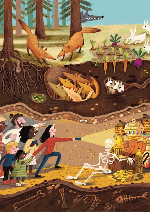 zorro, conejo, conejito, tesoro, bosque, lobo, subterráneo, capa