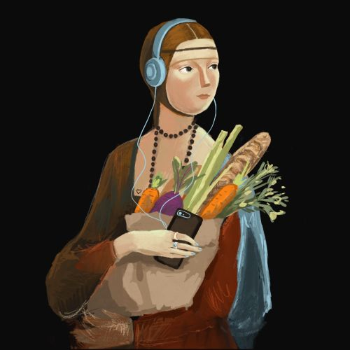 Digital painting of a woman with a Vegetable bag
