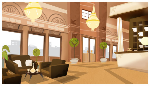 Waiting hall architecture illustration