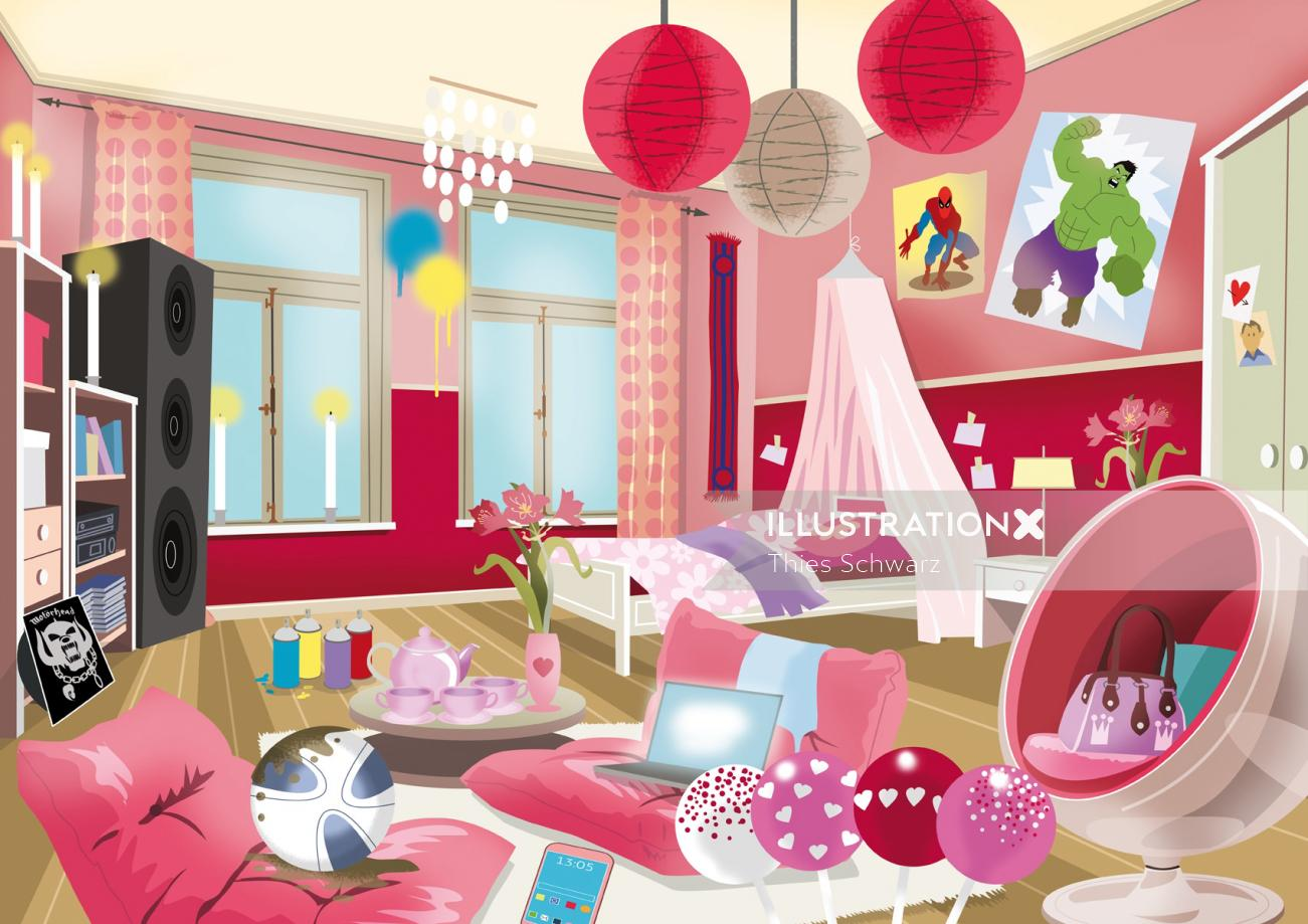 Architecture illustration of bedroom