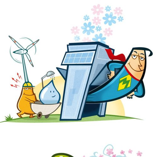 Cartoon illustration of superman