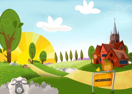 Farmhouse architecture illustration