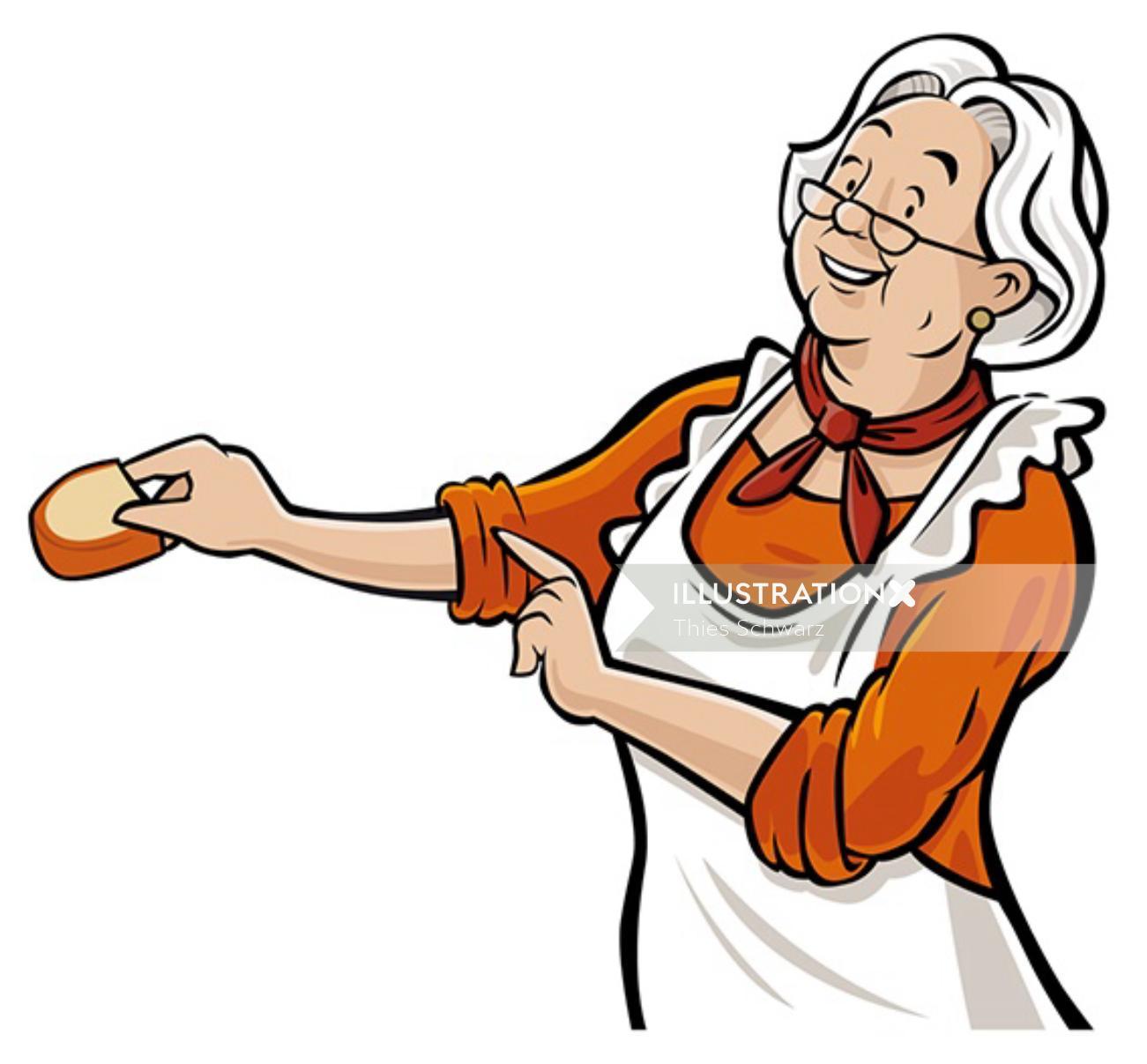 Cartoon art of grandma chef