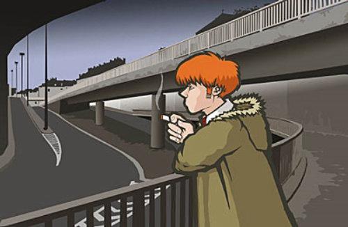 Lonely boy in empty street