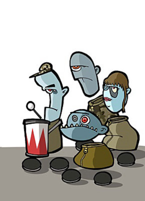 Cartoon people music band