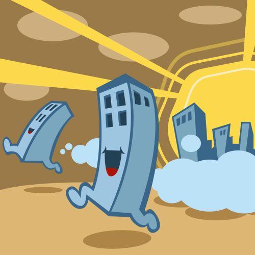 Cartoon Buildings runnning