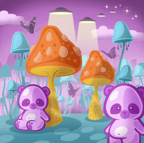 Pandas in mushroom world