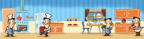 Graphic illustration of Kitchen