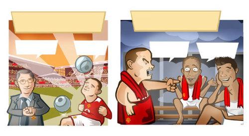 Football players comic scene