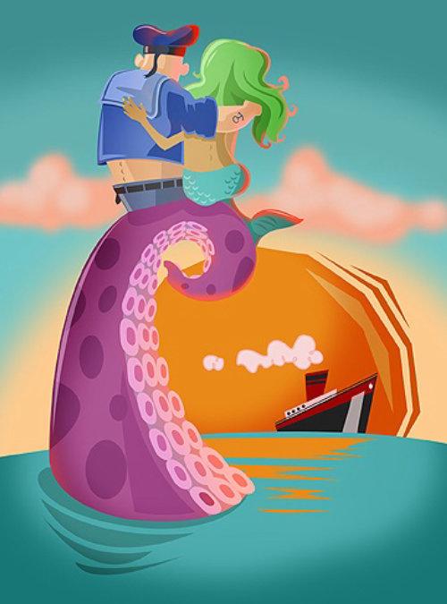 Love affair of Octopus ocean