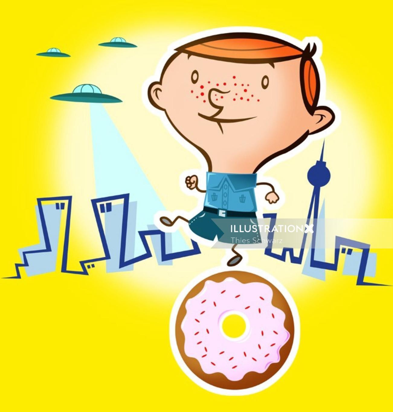 Boy UFO and Donut