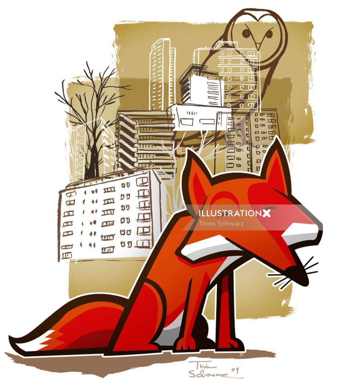 Stylish fox in city