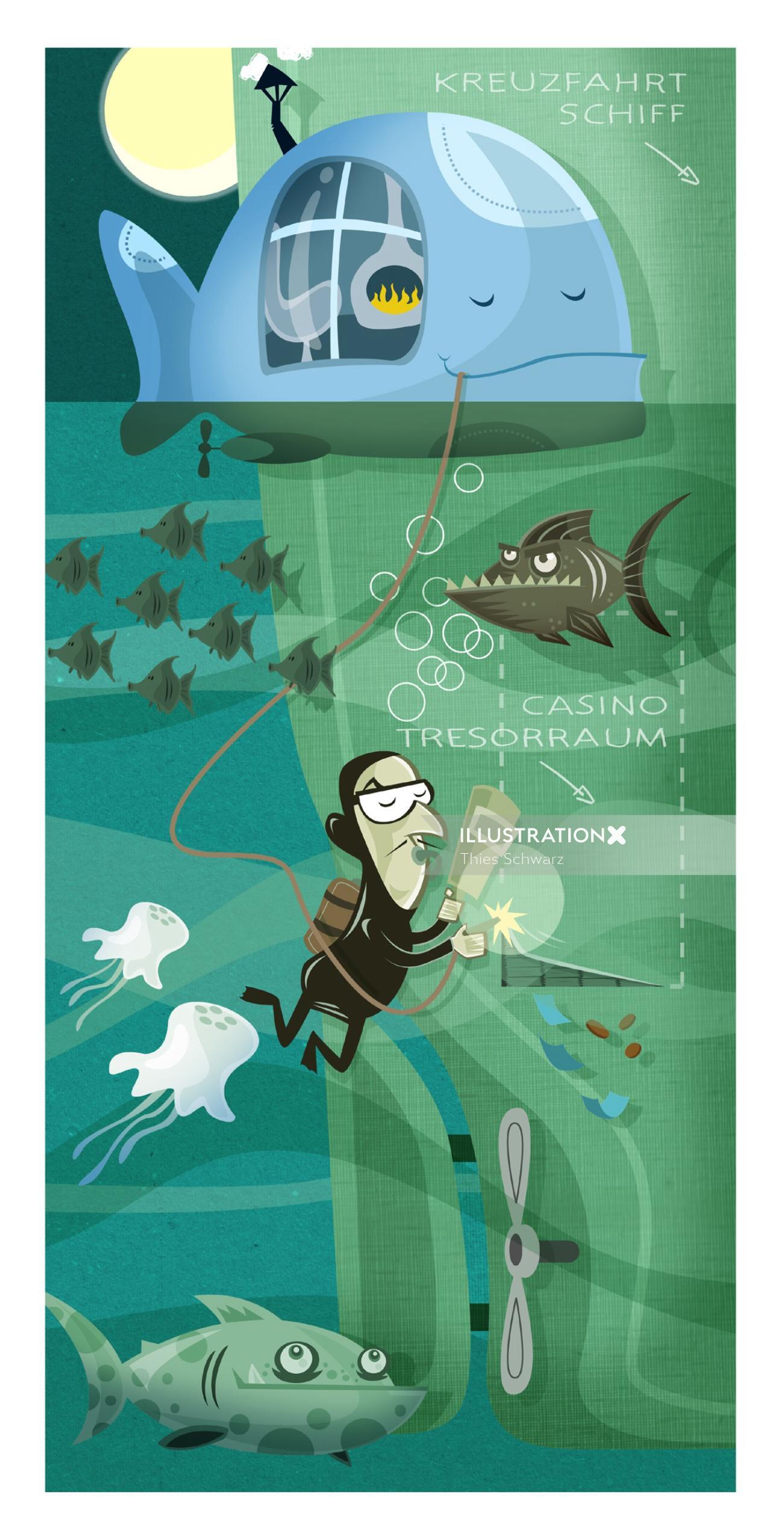 Thief in underwater