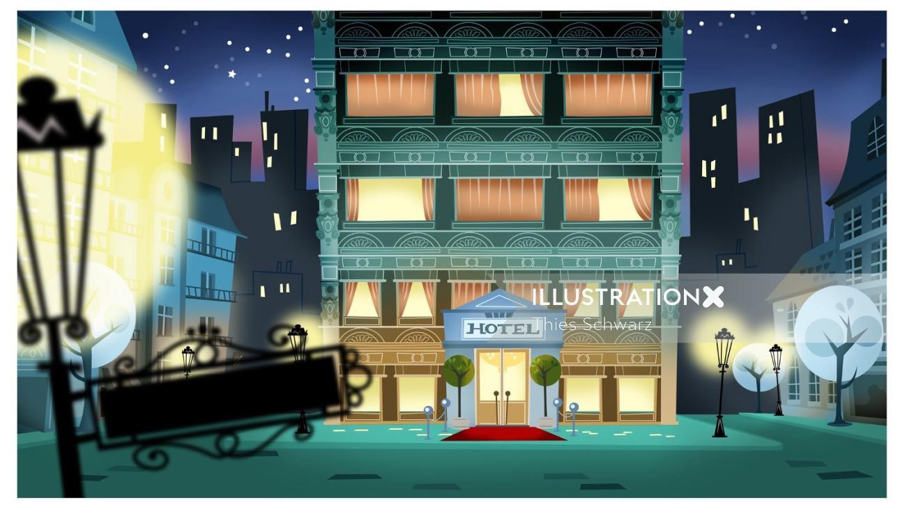Graphic architecture illustration of hotel