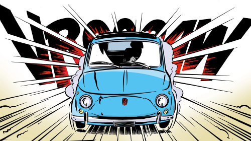 Fast car in motion illustration by Thilo Rothacker