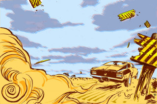 Speed car driving illustration by Thilo Rothacker