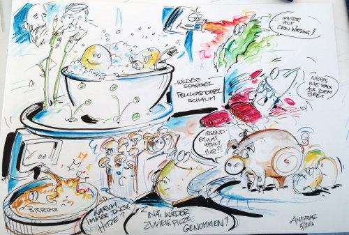Sketch illustration of food bowls in restaurant