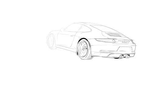 车的铅笔素描插图