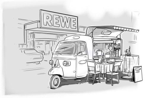 Pencil sketch illustration of mobile restaurant