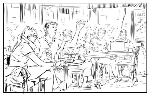 Pencil sketch of couple in restaurant