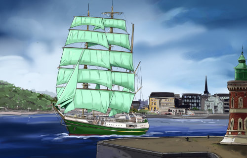 旅行船素描图