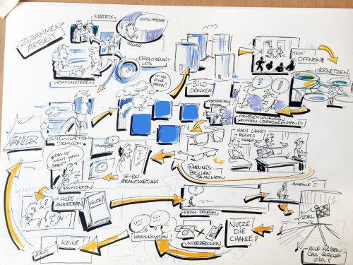 Pencil sketch storyboard illustration