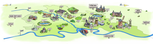 colorful sketch illustration of city map