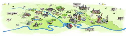城市地图的彩色素描插图