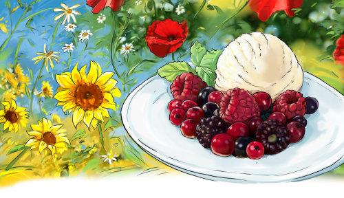 鲜花和水果的多彩剪影